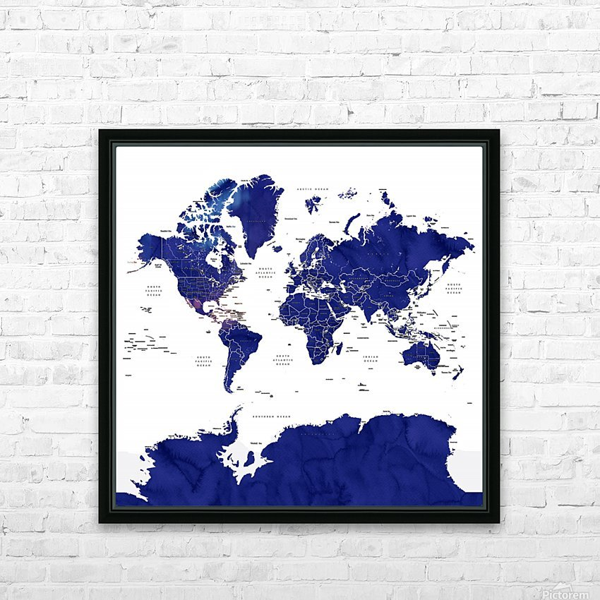 Navy blue watercolor world map with countries and states labelled HD Sublimation Metal print with Decorating Float Frame (BOX)