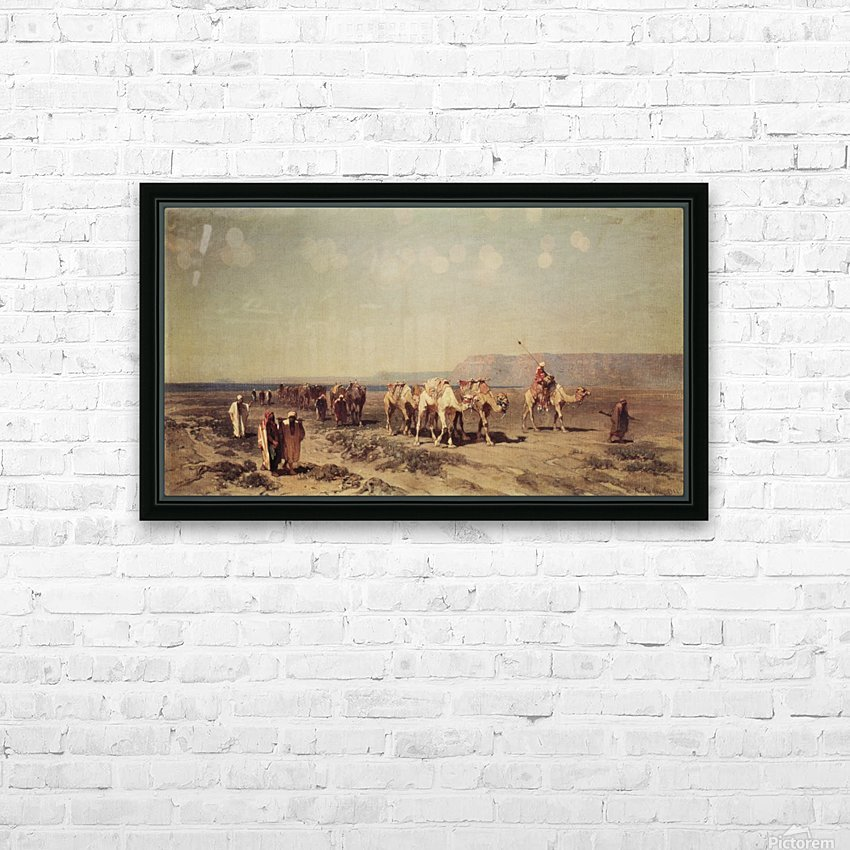 Caravan on the shores of the Red sea HD Sublimation Metal print with Decorating Float Frame (BOX)