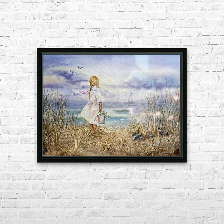 Girl Standing At The Ocean Watching Sailboat and Birds HD Sublimation Metal print with Decorating Float Frame (BOX)