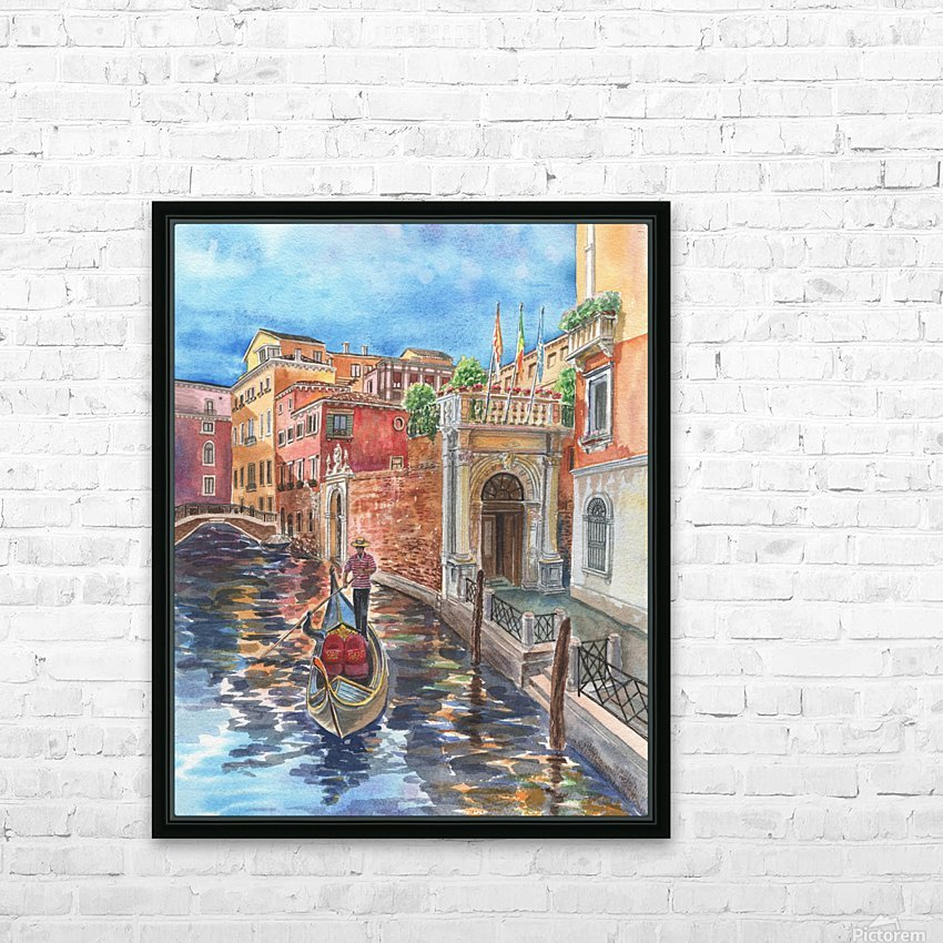Venice Canal And Gondolier Italian City Landscape  HD Sublimation Metal print with Decorating Float Frame (BOX)