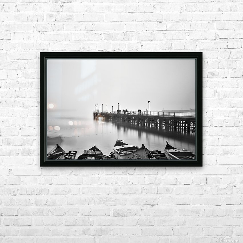Foggy sea bridge HD Sublimation Metal print with Decorating Float Frame (BOX)