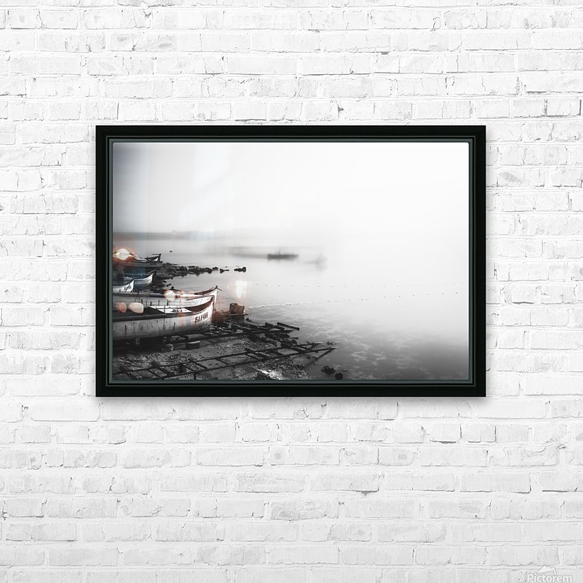 Foggy fishing port HD Sublimation Metal print with Decorating Float Frame (BOX)