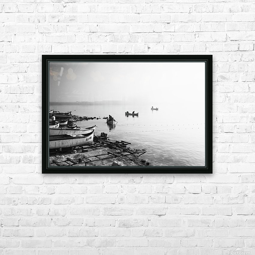 Fishing boats at the foggy port of Balchik HD Sublimation Metal print with Decorating Float Frame (BOX)