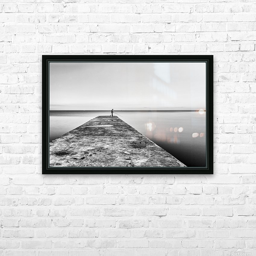 Fisherman angling at sunset HD Sublimation Metal print with Decorating Float Frame (BOX)