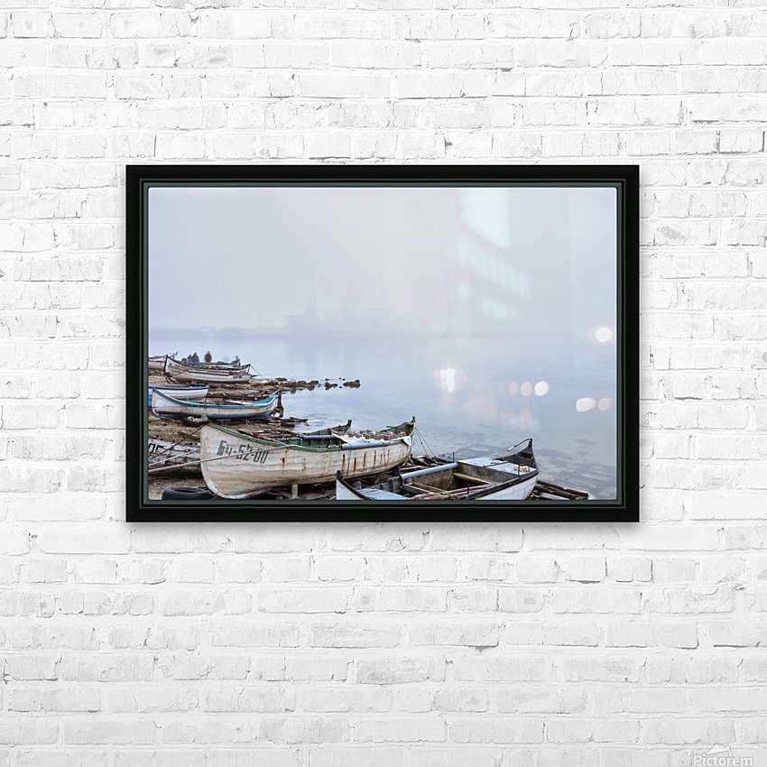 Fishing boats in fog HD Sublimation Metal print with Decorating Float Frame (BOX)
