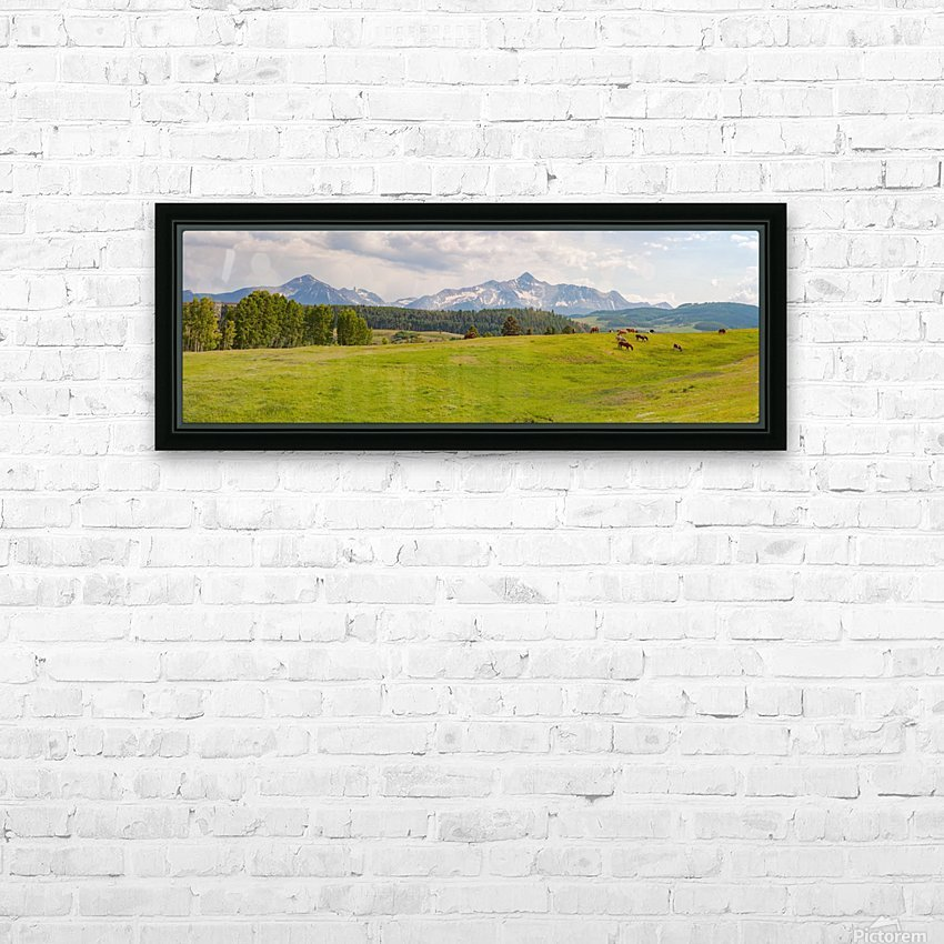Wilson Peak with Horses HD Sublimation Metal print with Decorating Float Frame (BOX)