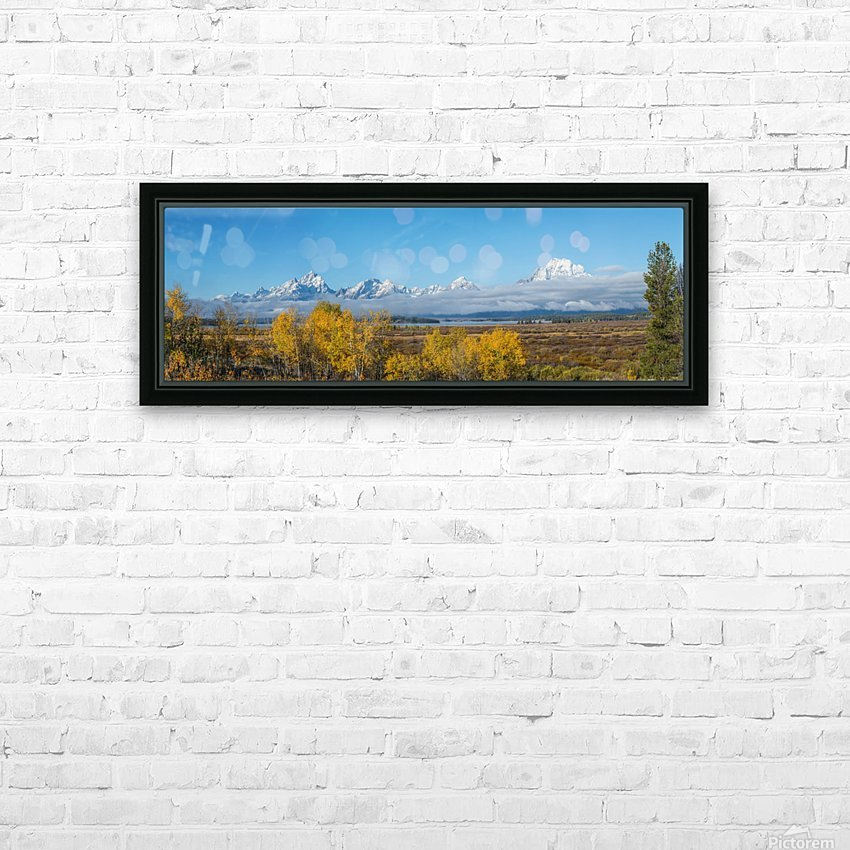 Tetons In the Fog HD Sublimation Metal print with Decorating Float Frame (BOX)