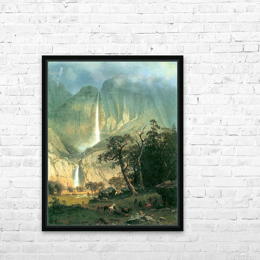 Cho-Looke,  Yosemite Watterfall by Bierstadt HD Sublimation Metal print with Decorating Float Frame (BOX)