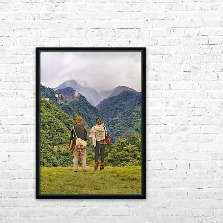 Young Backpackers at Top of Mountain, Banos, Ecuador HD Sublimation Metal print with Decorating Float Frame (BOX)