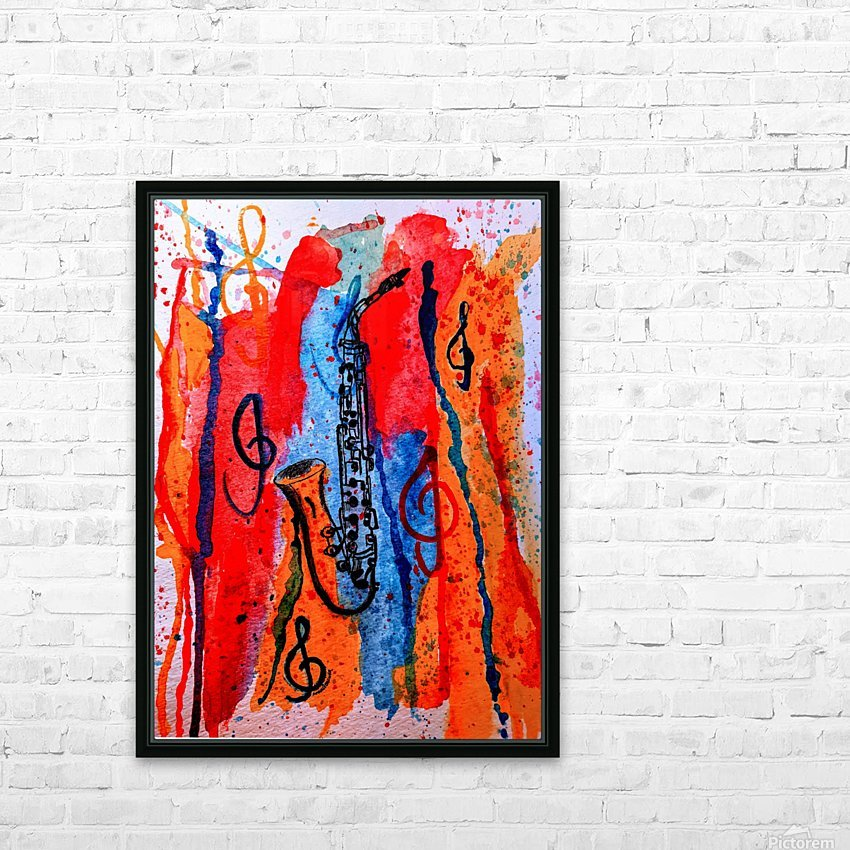 Saxophone Watercolor HD Sublimation Metal print with Decorating Float Frame (BOX)