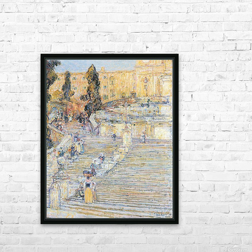 The Spanish steps by Hassam HD Sublimation Metal print with Decorating Float Frame (BOX)