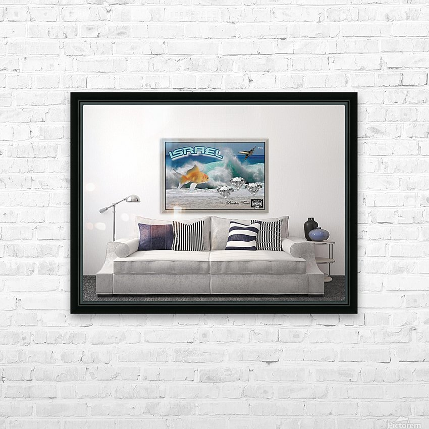 monogram art   israel ocean 1 FOR DSPLAY ONLY in room setting HD Sublimation Metal print with Decorating Float Frame (BOX)