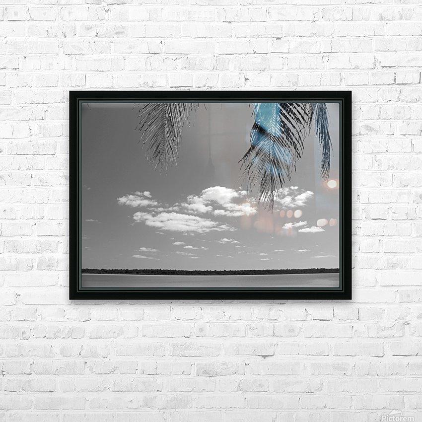 Peeking Palm Tree B&W HD Sublimation Metal print with Decorating Float Frame (BOX)