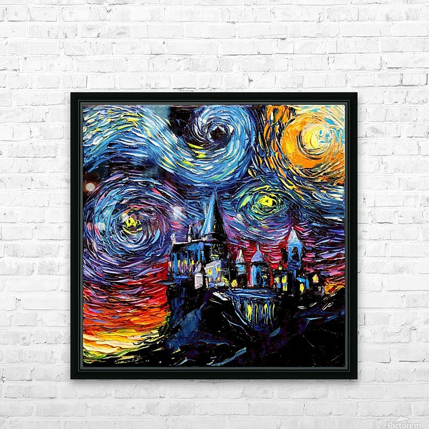 Castle Starry Night print van Gogh parody HD Sublimation Metal print with Decorating Float Frame (BOX)