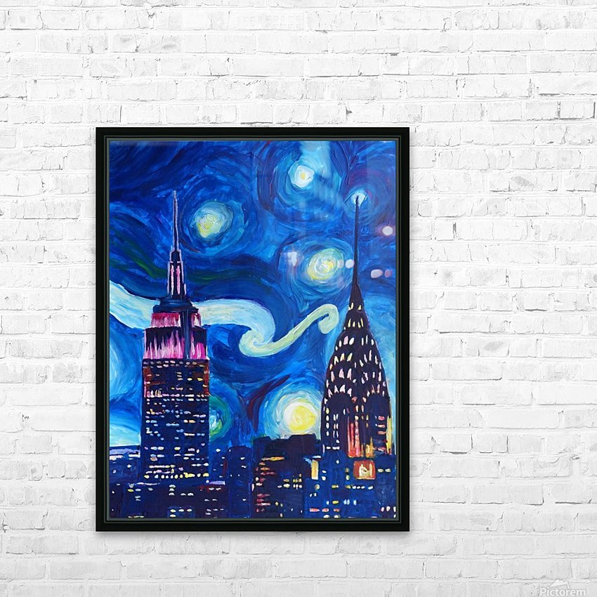 Starry Night in New York Van Gogh Manhattan Chrysler Building and Empire State Building HD Sublimation Metal print with Decorating Float Frame (BOX)