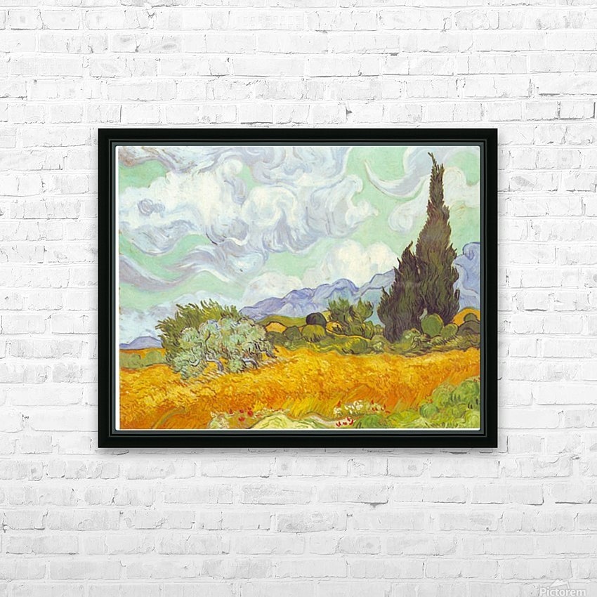 Cornfield with Cyprusses by Van Gogh HD Sublimation Metal print with Decorating Float Frame (BOX)