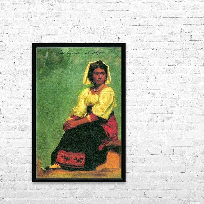 Costume study of a seated woman by Bierstadt HD Sublimation Metal print with Decorating Float Frame (BOX)