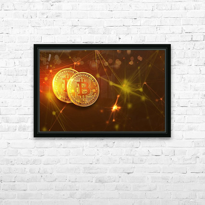 Bitcoin HD Sublimation Metal print with Decorating Float Frame (BOX)