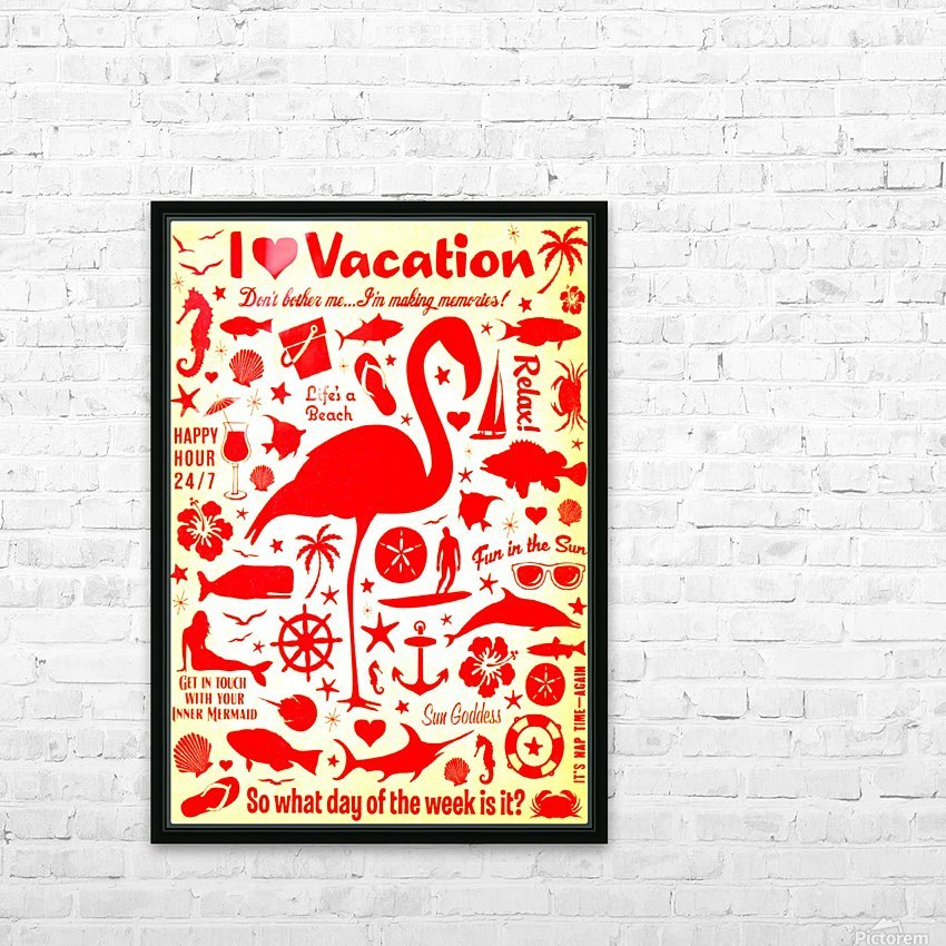Vintage Travel - I Love Vacations HD Sublimation Metal print with Decorating Float Frame (BOX)