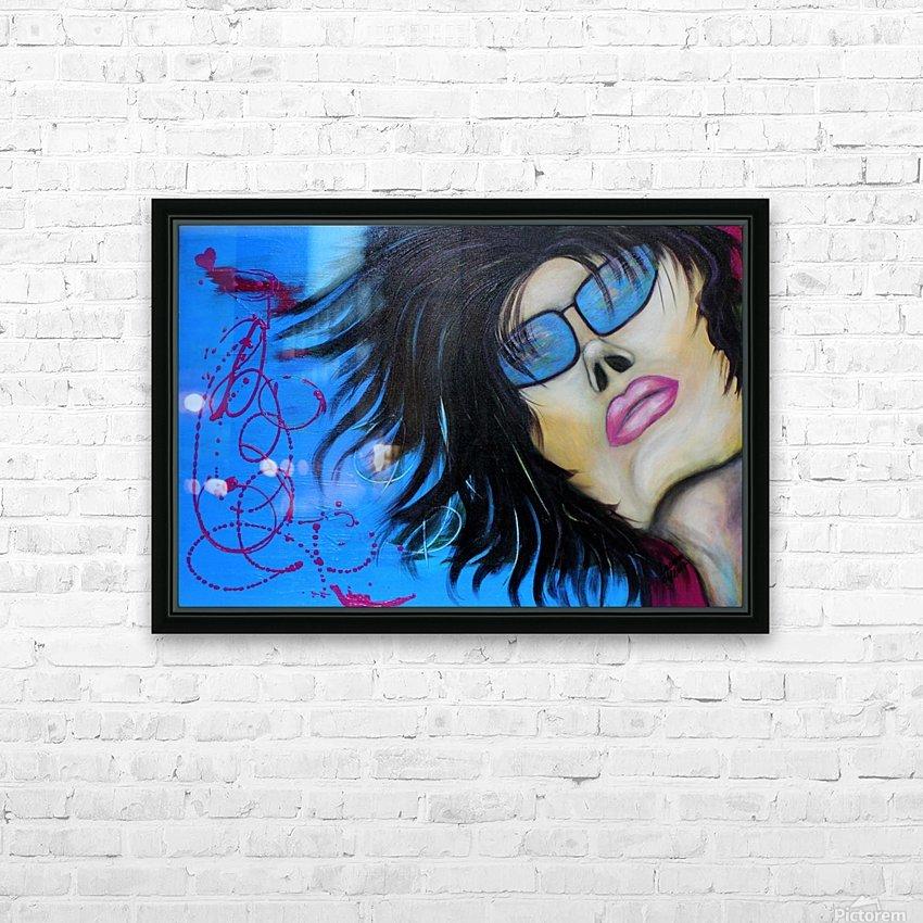 La femme a lunette sous le ciel Bleu HD Sublimation Metal print with Decorating Float Frame (BOX)