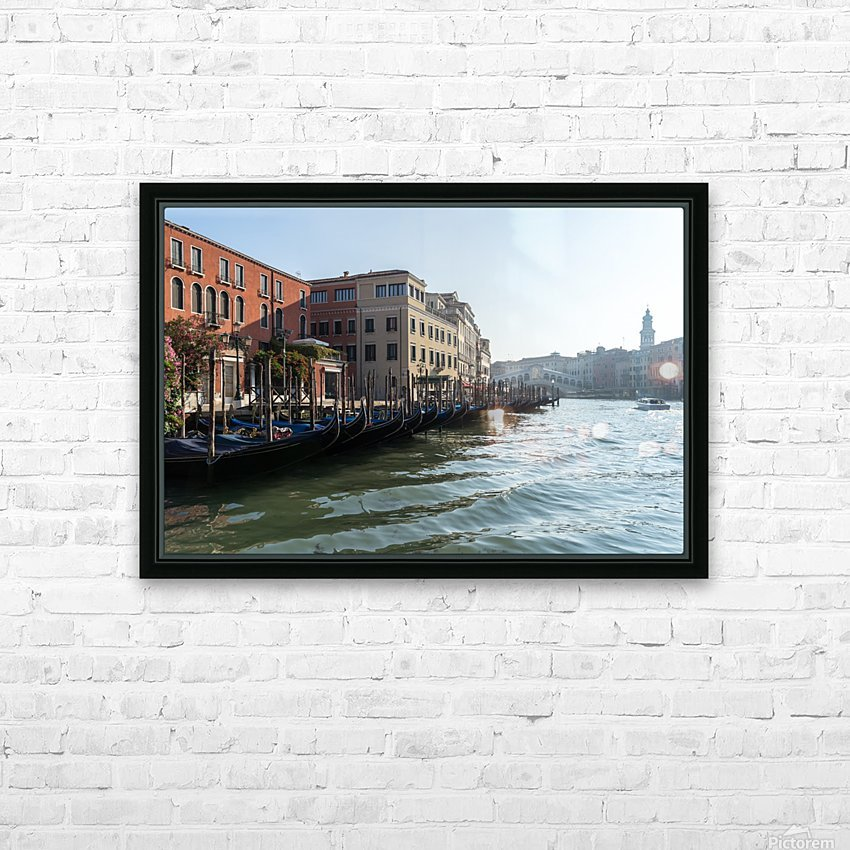 Classic Venetian - Glossy Gondolas And Ripples On The Grand Canal HD Sublimation Metal print with Decorating Float Frame (BOX)