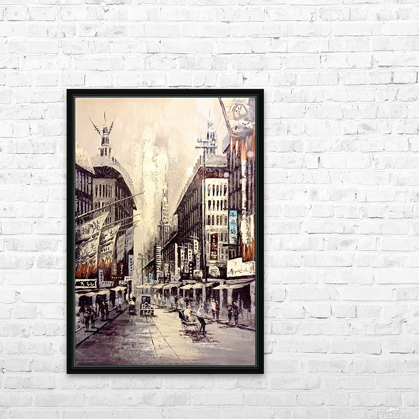 Old Hong Kong Street View HD Sublimation Metal print with Decorating Float Frame (BOX)