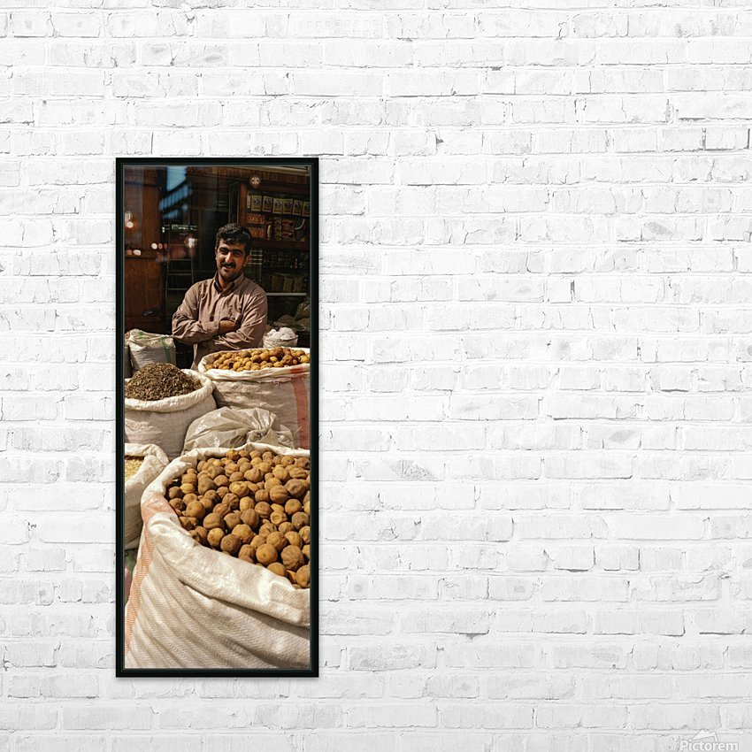 Shop keeper behind Bags of Dried goods HD Sublimation Metal print with Decorating Float Frame (BOX)