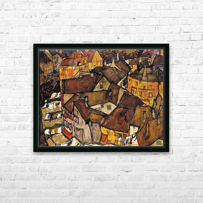 Egon Schiele - Crescent of Houses HD Sublimation Metal print with Decorating Float Frame (BOX)