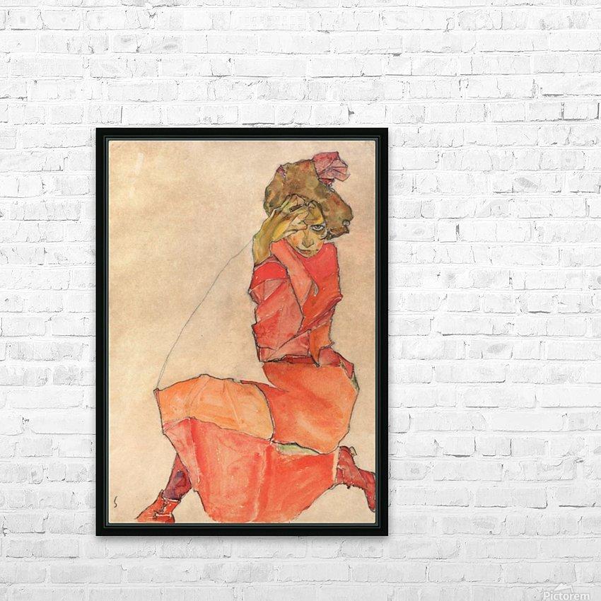 Egon Schiele - Kneeling Woman in Orange-Red Dress HD Sublimation Metal print with Decorating Float Frame (BOX)