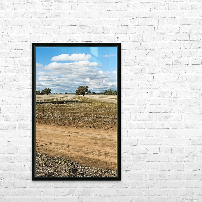 Stubble fields post harvest against blue sky and clouds. HD Sublimation Metal print with Decorating Float Frame (BOX)
