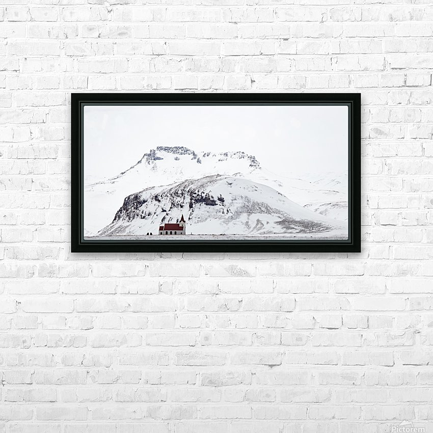 Distant Iceland Church HD Sublimation Metal print with Decorating Float Frame (BOX)