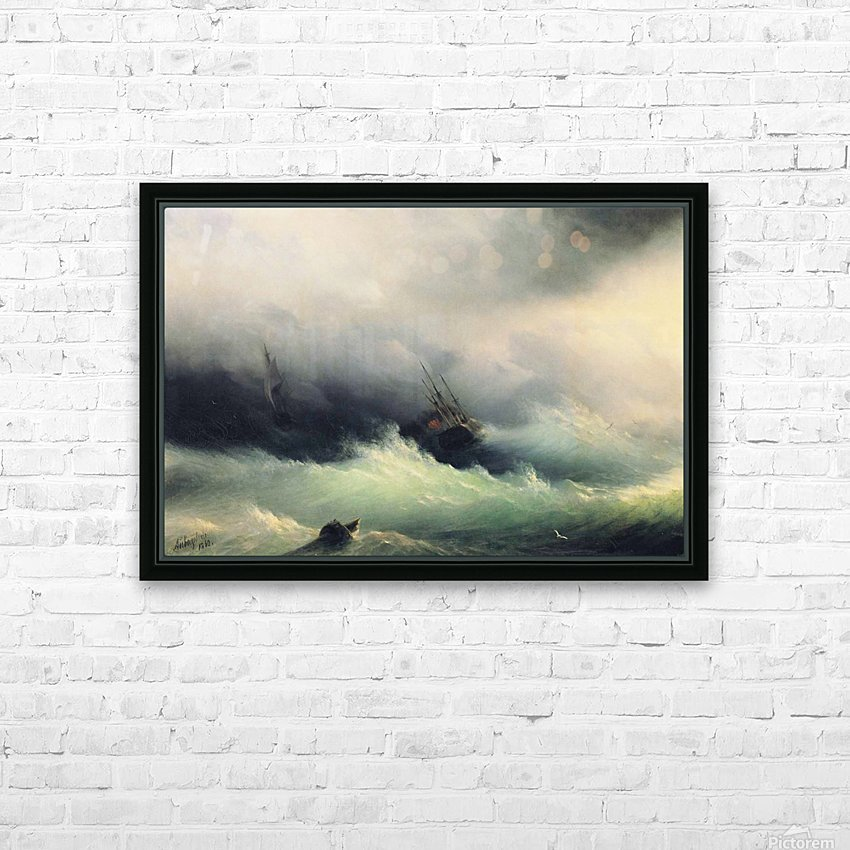 Ships in a Storm HD Sublimation Metal print with Decorating Float Frame (BOX)