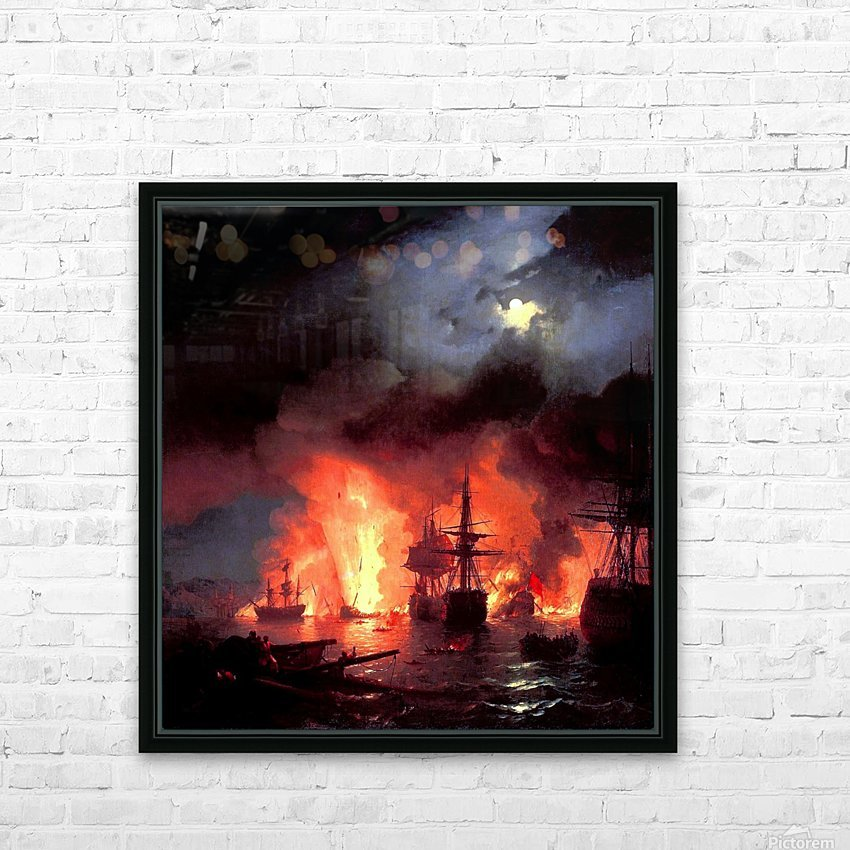 Battle of Cesme at Night HD Sublimation Metal print with Decorating Float Frame (BOX)