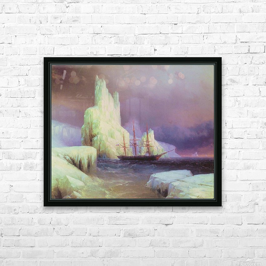 Icebergs in Antarctica HD Sublimation Metal print with Decorating Float Frame (BOX)