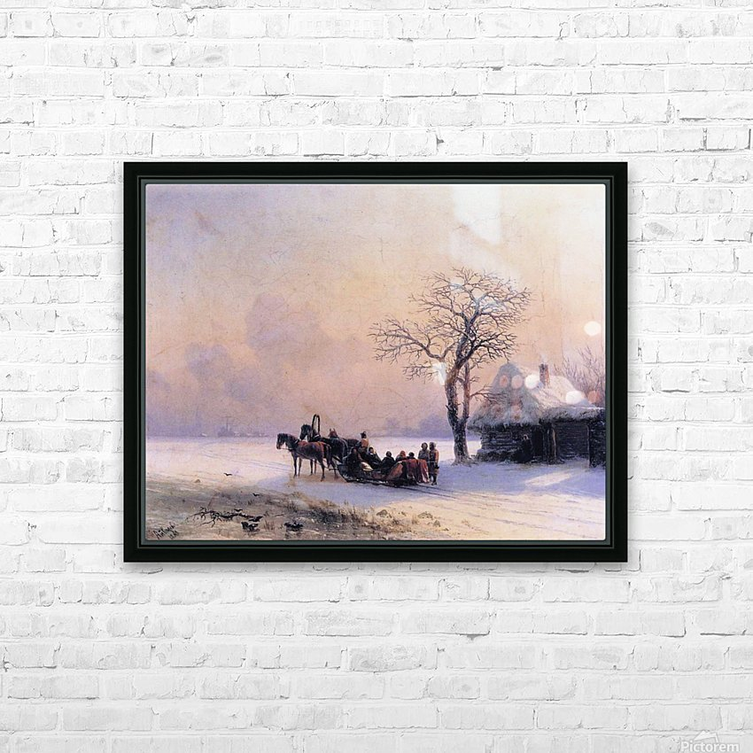 Winter Scene in Little Russia HD Sublimation Metal print with Decorating Float Frame (BOX)