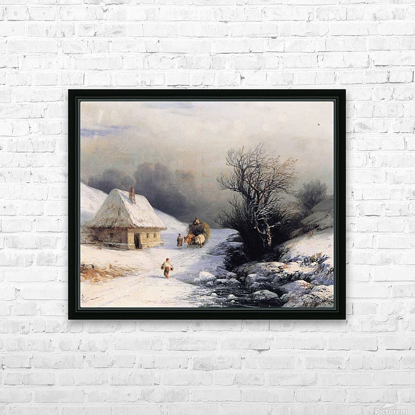 Little Russian Ox Cart in Winter HD Sublimation Metal print with Decorating Float Frame (BOX)
