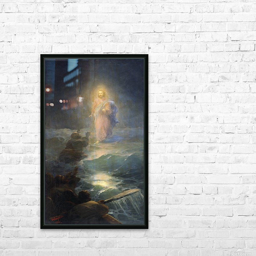 Jesus walks on water HD Sublimation Metal print with Decorating Float Frame (BOX)