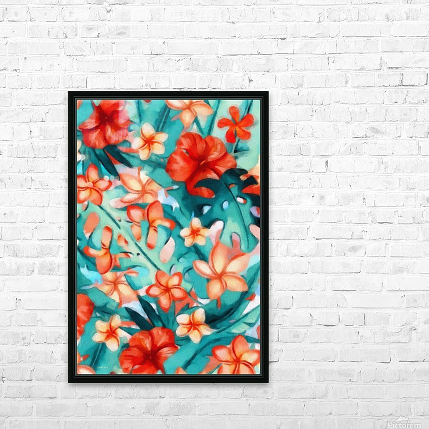 Vibrant Tropical Floral  HD Sublimation Metal print with Decorating Float Frame (BOX)