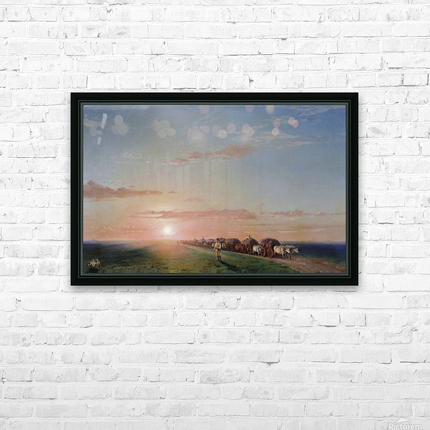Ox train on the steppe HD Sublimation Metal print with Decorating Float Frame (BOX)