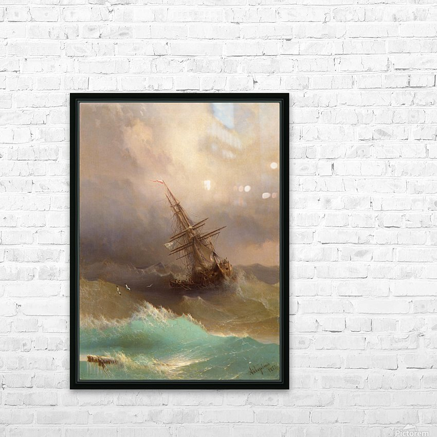 Ship in the Stormy Sea HD Sublimation Metal print with Decorating Float Frame (BOX)