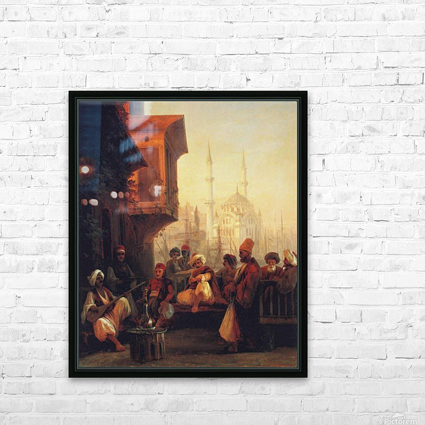 Coffee house by the Ortakoy Mosque in Constantinople HD Sublimation Metal print with Decorating Float Frame (BOX)