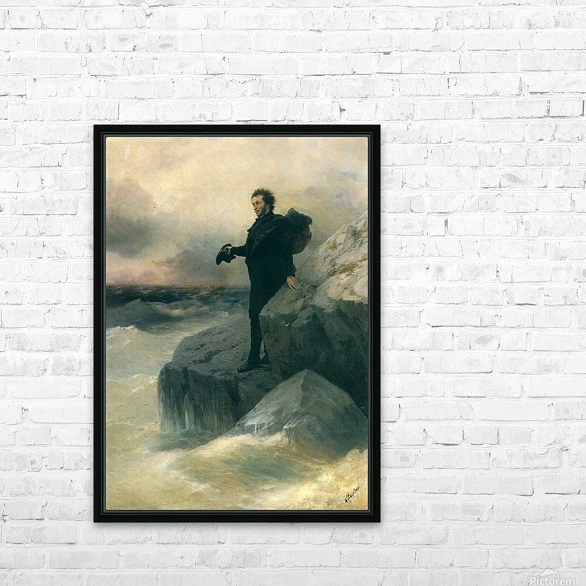 Pushkin and the sea HD Sublimation Metal print with Decorating Float Frame (BOX)