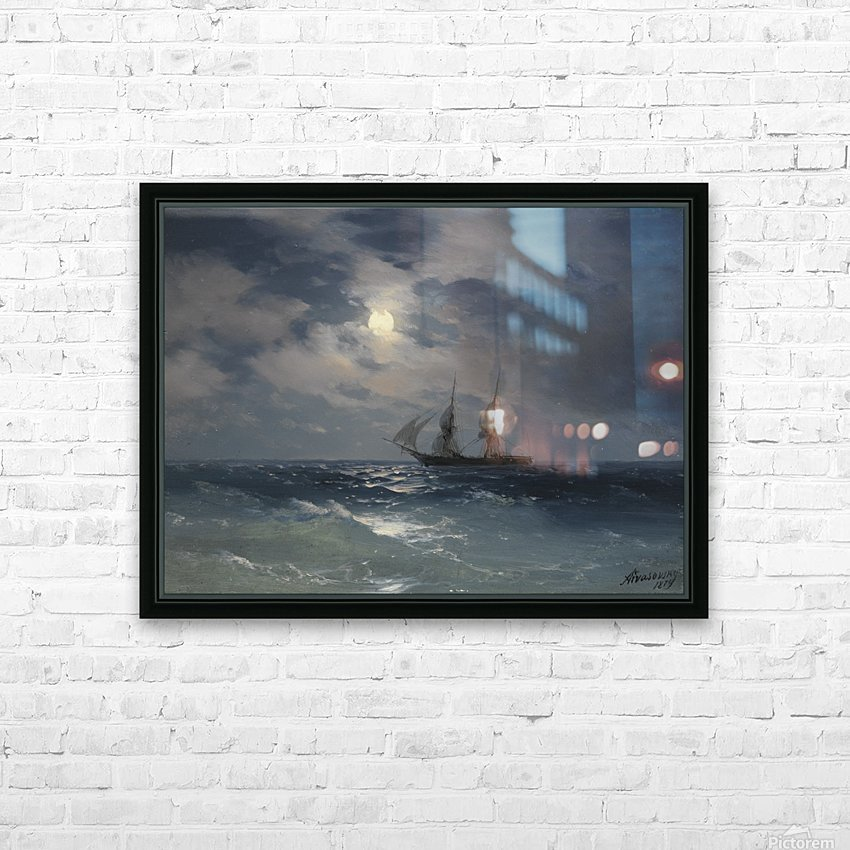 The Brig Mercury in moonlight HD Sublimation Metal print with Decorating Float Frame (BOX)