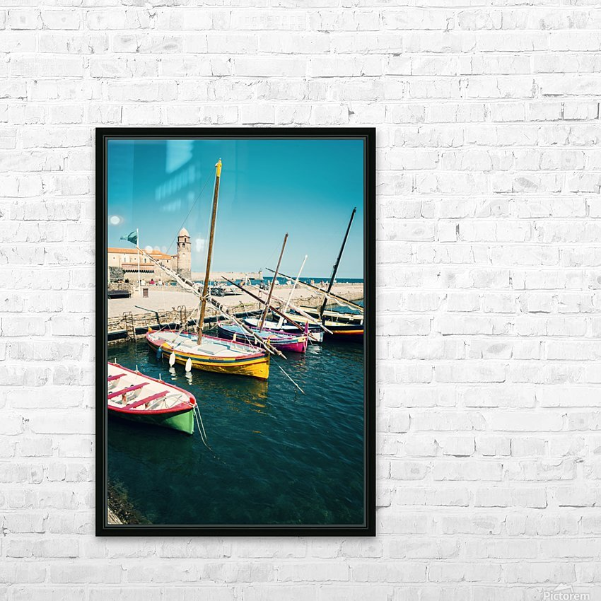 Collioure harbour Anchovy Fishing boats. HD Sublimation Metal print with Decorating Float Frame (BOX)
