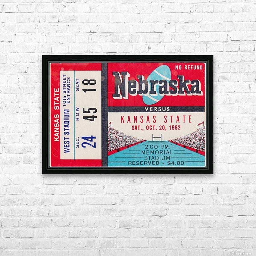 1962 Kansas State vs. Nebraska Cornhuskers Ticket Stub HD Sublimation Metal print with Decorating Float Frame (BOX)