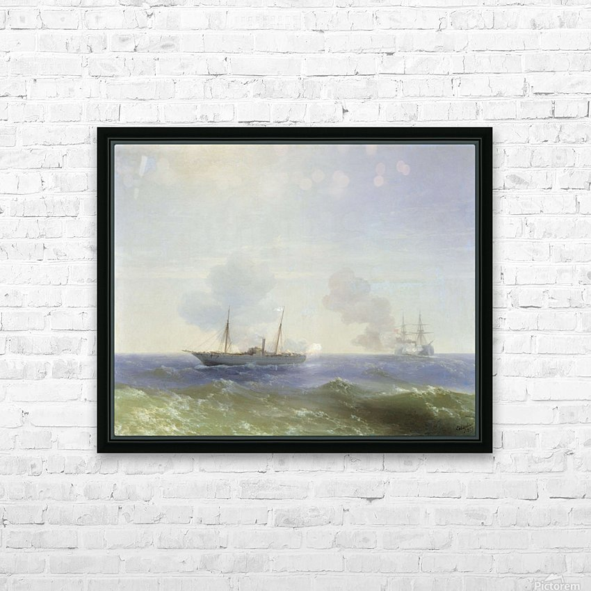 Battle of steamship Vesta and Turkish ironclad HD Sublimation Metal print with Decorating Float Frame (BOX)