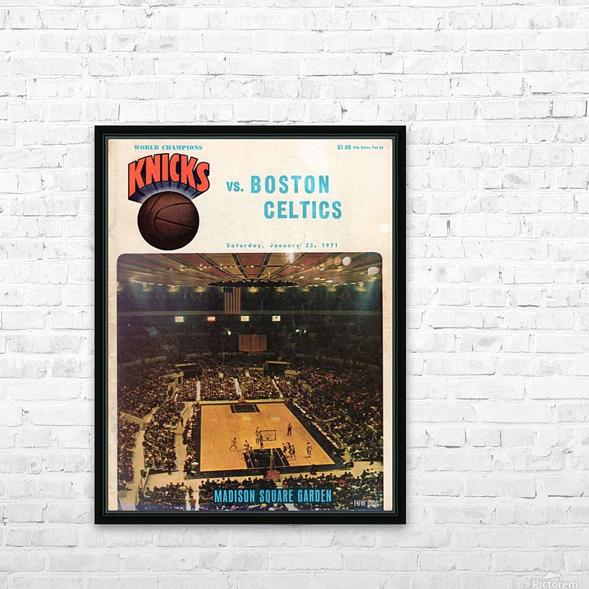 1971 vintage sports art new york knicks basketball program cover art HD Sublimation Metal print with Decorating Float Frame (BOX)