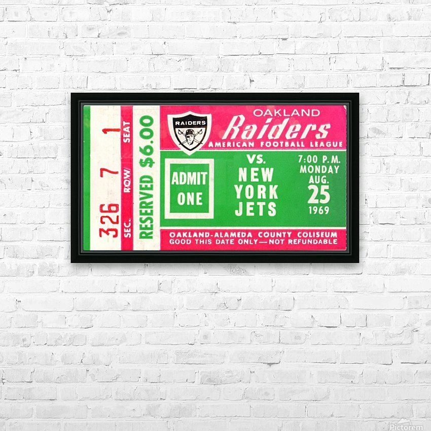 1969 New York Jets vs. Oakland Raiders Ticket Stub  HD Sublimation Metal print with Decorating Float Frame (BOX)
