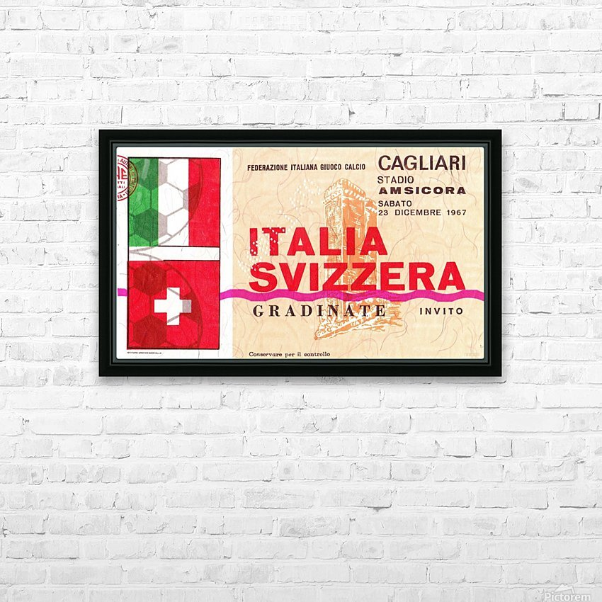 1967_Soccer_Italy vs. Switzerland_Cagliari Stadium_Row One HD Sublimation Metal print with Decorating Float Frame (BOX)