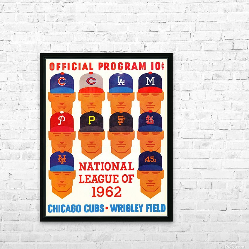 1962_Major League Baseball_Chicago Cubs_Program_Wrigley Field_Row One Brand HD Sublimation Metal print with Decorating Float Frame (BOX)